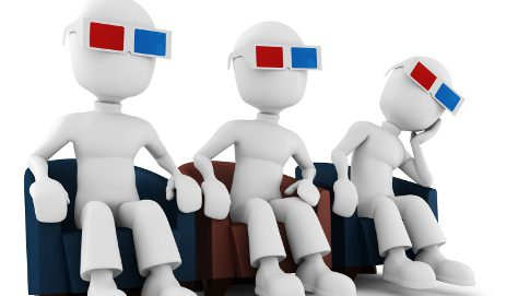 Animated people wearing 3D glasses