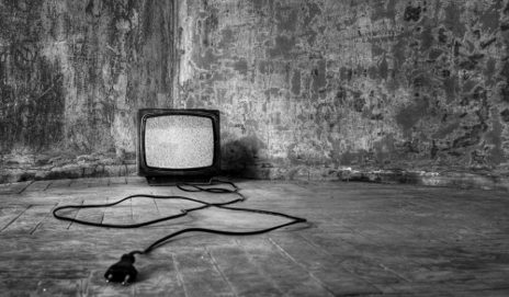 Black and white old TV