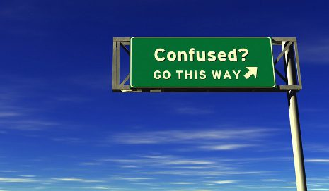 Sign saying 'Confused? This way'