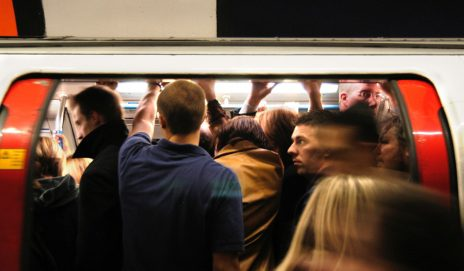 Overcrowded London Underground Tube