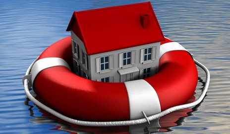 House floating on water in life ring