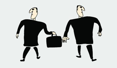 Two bankers with briefcase